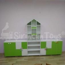 Yeşil Beyaz Çatılı Dolap